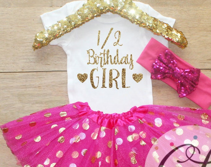 Half Birthday Outfit / Baby Girl Clothes 1/2 Birthday  Outfit Half Birthday Set 1/2 Birthday Girl Outfit 6 Month Gift   Set 046