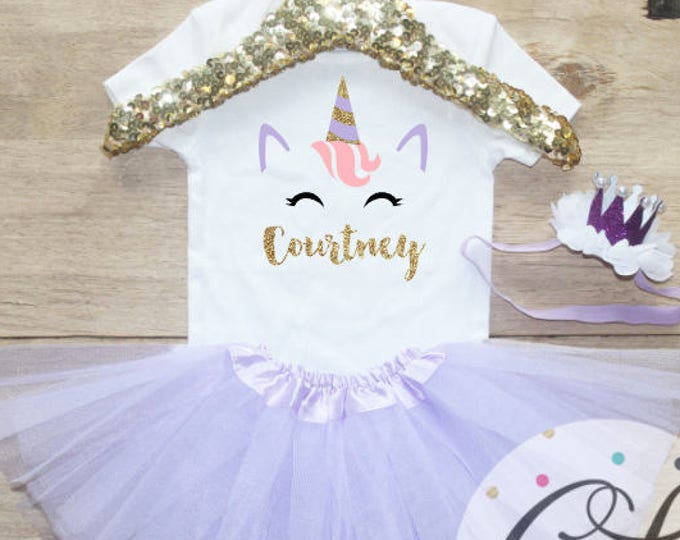 Unicorn Birthday  T-Shirt Outfit / Baby Girl Clothes Unicorn Outfit Unicorn Birthday First Birthday Set One 1st Name Toddler Crown 223