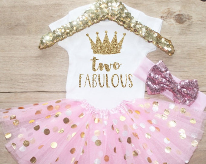 Second Birthday  Outfit / Baby Girl Clothes Two Fabulous 2 Year Old Outfit Two Birthday Set 2nd Birthday Girl Outfit Baby Princess 211