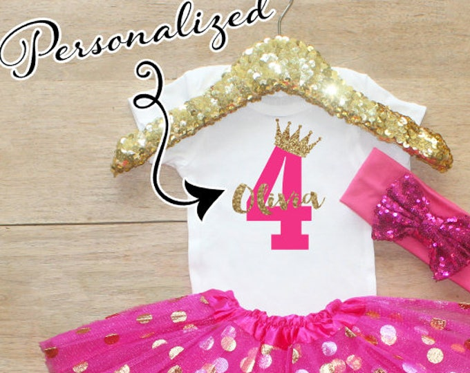 Fourth Birthday  Shirt Outfit / Baby Girl Clothes 4 Year Old Outfit Four Birthday Set 4th Birthday Girl Outfit  Princess Crown 067