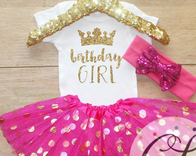 Birthday Girl  Outfit / Baby Girl Clothes 1 Year Old Outfit One Birthday Set 1st Birthday Girl Outfit Fairy Tinkerbell   Set 095