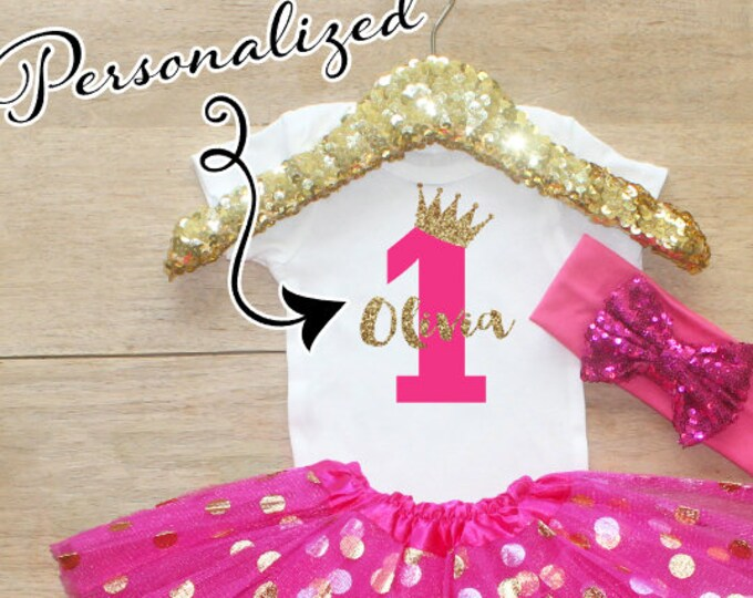 First Birthday Bodysuit Outfit / Baby Girl Clothes 1 Year Old  Outfit One Birthday Set 1st Birthday Girl Outfit Baby   Set 067