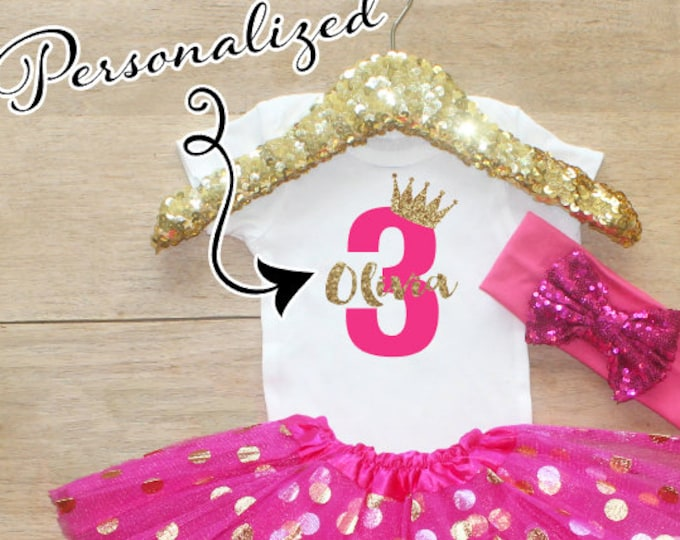 Third Birthday  Shirt Outfit / Baby Girl Clothes 3 Year Old Outfit Three Birthday Set 3rd Birthday Girl Outfit  Princess Crown 067