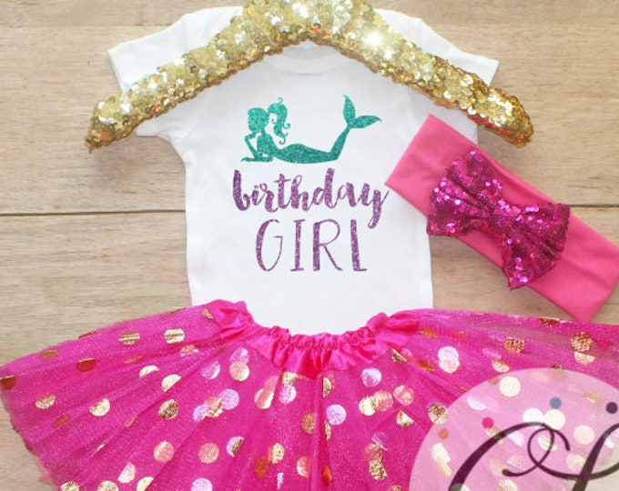 Birthday Girl  Outfit / Baby Girl Clothes 1 Year Old Outfit One Birthday Set 1st Birthday Girl Outfit Little Mermaid   Set 050