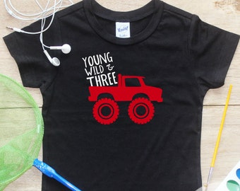 Young Wild Three Monster Truck Birthday Boy Shirt / Baby Boy Clothes 3 Year Old Outfit Third Birthday TShirt 3rd Birthday Party Toddler 275