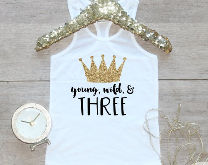 Birthday Girl Tank Top / Young Wild Three Baby Girl Clothes 3 Year Old Outfit Little Mermaid Third Birthday Shirt Birthday Girl Outfit 069