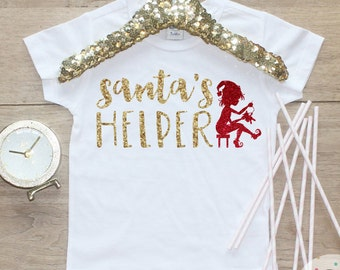 Santa's Helper Christmas Shirt / Baby Girl Clothes Baby's 1st Christmas Outfit First Xmas TShirt Holidays Elf Baby Merry Christmas Shirt 139