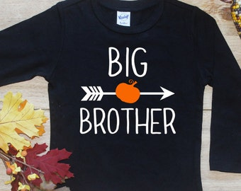 Big Brother Pumpkin Shirt / Halloween Announcement Shirt Thanksgiving Big Brother TShirt Pregnancy Announcement Fall Sibling Bodysuit 165