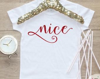 Nice Christmas Shirt / Baby Girl Clothes Baby's 1st Christmas Outfit First Xmas TShirt Holidays Naughty Sister Sibling Merry Shirt 141