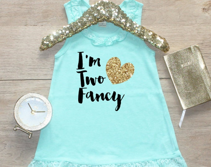 Birthday Girl Dress / Baby Girl Clothes Two Fancy  2 Year Old Outfit Second Birthday Dress 2nd Birthday Girl Outfit Shirt Birthday Party 083