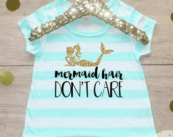 Mermaid Hair Don't Care Shirt / Baby Girl Clothes Toddler Clothing Mermaid Tshirt Beach Hair Don't Care Shirt Little Under the Sea Sister 33