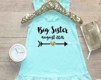 Big Sister Dress Date / Baby Girl Clothes Big Sister Outfit Matching Little Sister Sibling Set Toddler Girl Pregnancy Announcement Shower 35