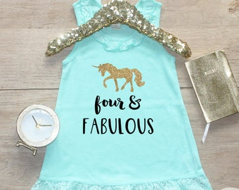 Birthday Girl Dress / Baby Girl Clothes Four and Fabulous Unicorn 4 Year Old Outfit Fourth Birthday Shirt 4th Birthday Girl Outfit Four 168
