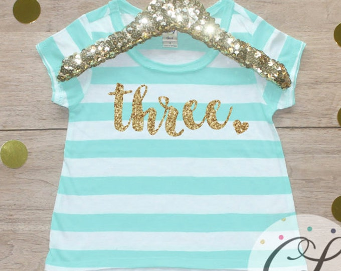 Birthday Girl Shirt / 3 Year Old Outfit Third Birthday Shirt 3rd Birthday Girl Outfit Three Short Sleeve Shirt Birthday Party T-Shirt 224