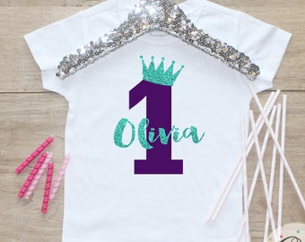Birthday Girl Shirt or Bodysuit / Baby Girl Clothes Mermaid 1 Year Old Outfit First Birthday Shirt 1st Girl Outfit Cake Smash One TShirt 067
