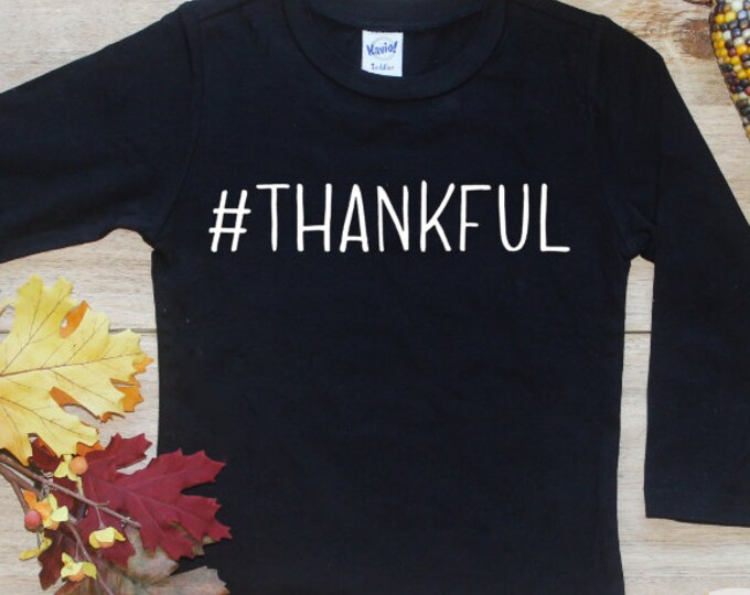 Thankful Shirt or Bodysuit / Baby Boy First Thanksgiving TShirt 1st Thanksgiving Tee Baby's Give Thanks Outfit Set Long Sleeve 174
