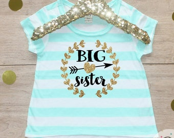 Big Sister Shirt / Baby Announcement Shirt Sibling Shirt Family Pictures New Baby Announcement Shirt Big Sister Announcement Big Sister 003