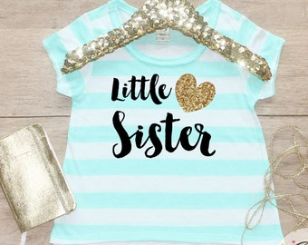 Little Sister Shirt / Baby Announcement Shirt Sibling Shirt Family Pictures New Baby Announcement Shirt Big Sister Announcement Matching 002