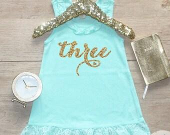 Birthday Girl Dress / Baby Girl Clothes 3 Year Old Outfit Third Birthday Dress 3rd Birthday Girl Outfit Shirt Birthday Party Three Shirt 008