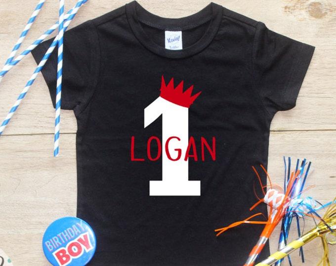 Birthday Boy Shirt or Bodysuit / Wild One Shirt Wild Thing Birthday Shirt 1 T-Shirt Cake Smash Outfit King First Baby Boy Crown Shirt 025