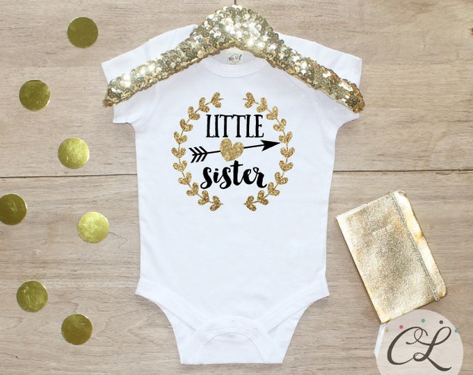 Little Sister Bodysuit / Baby Girl Clothes Little Sister Outfit Matching Big Sister Sibling Set Toddler Pregnancy Announcement Baby Shower 3