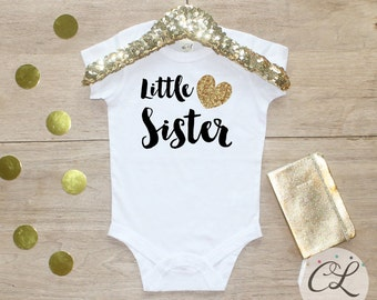 Little Sister Bodysuit / Baby Girl Clothes Little Sister Outfit Matching Big Sister Sibling Set Toddler Pregnancy Announcement Baby Shower 2