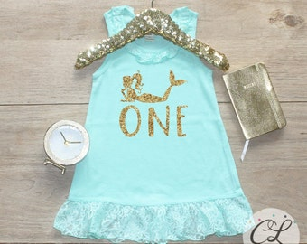 Birthday Girl Dress / Baby Girl Clothes 1 Year Old Outfit Mermaid Party First Birthday Dress 1st Birthday Girl Outfit Shirt Cake Smash 089