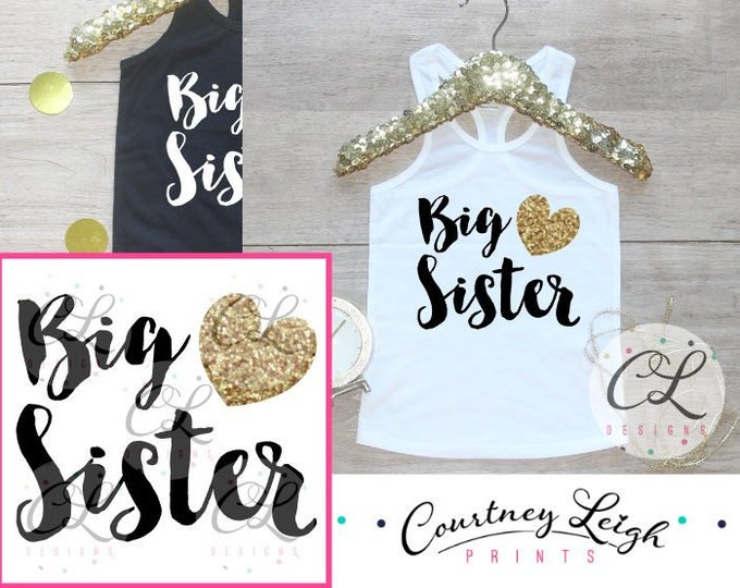 Big Sister Tank / Baby Girl Clothes Big Sister Outfit Matching Little Sister Sibling Set Toddler Girl Pregnancy Announcement Baby Shower 002