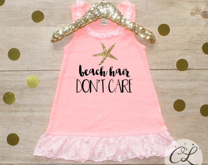 Beach Hair Don't Care Dress / Baby Girl Clothes Toddler Clothing Mermaid Dress Beach Hair Don't Care Shirt Little Mermaid 096
