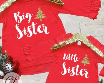 Christmas Big Sister Little Sis Outfit / Baby Announcement Holiday Baby Girl Clothes Big Sister Shirt Christmas Sibling Set Matching 173