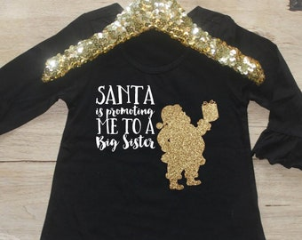 Christmas Big Sister Shirt / Baby Girl Clothes Big Sister Christmas Outfit Matching Sibling Pregnancy Announcement Santa Promoting 325