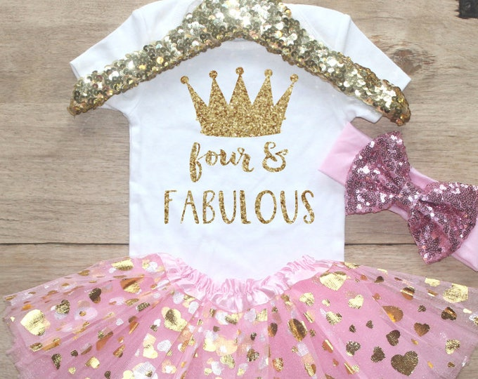 Fourth Birthday  Outfit / Baby Girl Clothes Four and Fabulous 4 Year Old Outfit Four Birthday Set 4th Birthday Girl Princess Crown 205