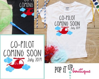Big Brother Co-Pilot Shirt / Baby Boy Clothes Big Brother Helicopter Shirt Coming Soon Baby Announcement Shirt Toddler Baby Shower Gift 326
