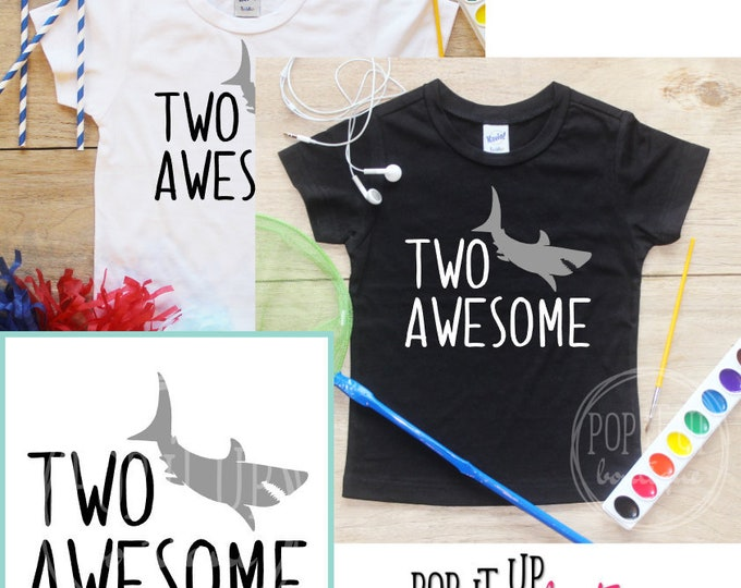 Two Awesome Shark Birthday Boy Shirt / Baby Boy Clothes 2 Year Old Outfit Second Birthday TShirt 2nd Birthday Boy Party Toddler 311
