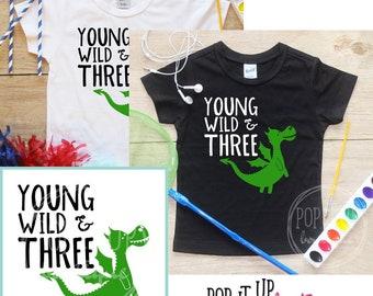 Young Wild & Three Dragon Birthday Boy Shirt / Baby Boy Clothes 3 Year Old Outfit Third Birthday TShirt 3rd Birthday Boy Party Toddler 332