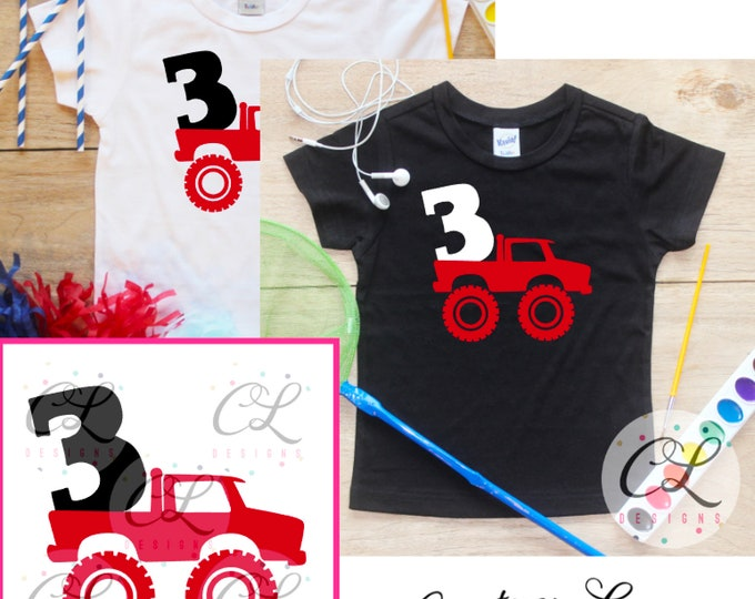 Young Wild Three Monster Truck Birthday Boy Shirt / Baby Boy Clothes 3 Year Old Outfit Third Birthday TShirt 3rd Birthday Party Toddler 293