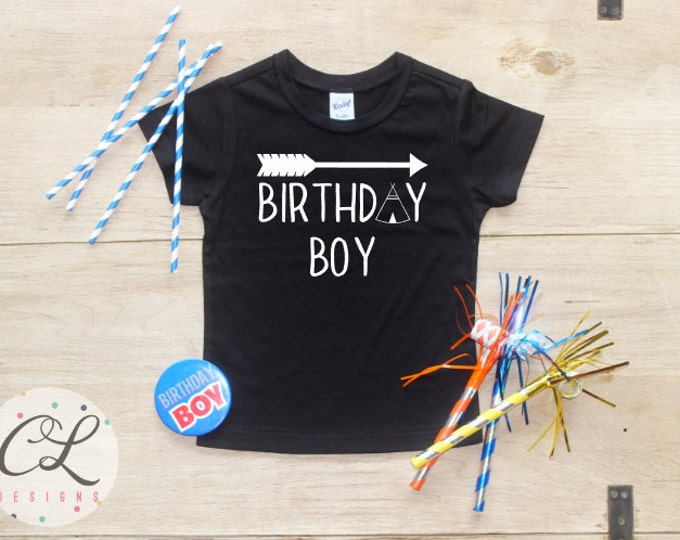 Birthday Boy Shirt or Bodysuit / Tribal Teepee T-Shirt Arrow Second Third Picture Prop Toddler Smash Cake Shirts Set Party Outfit Kids Tee