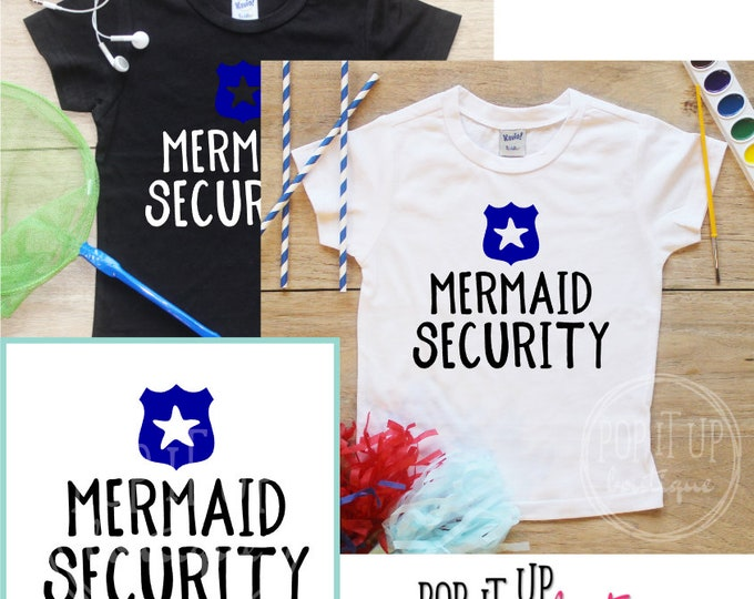 Mermaid Security Birthday Boy Shirt / Baby Boy Clothes 3 Year Old Outfit Third Birthday TShirt 3rd Birthday Boy Party Toddler 305