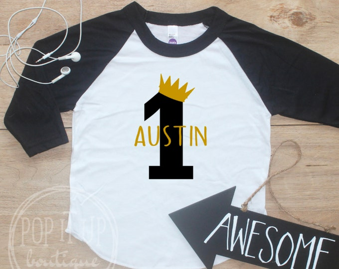 Birthday Boy Shirt / Baby Boy Clothes Wild One Crown 1 Year Old Outfit First Birthday TShirt 1st Birthday Boy Cake Smash Raglan Toddler 025