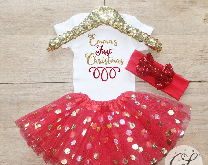 Personalized First Christmas Tutu Outfit Set / Bodysuit 131