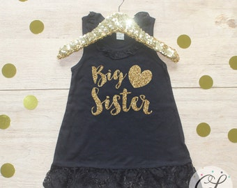 Big Sister Dress / Baby Girl Clothes Big Sister Outfit Matching Little Sister Sibling Set Toddler Girl Pregnancy Announcement Baby Shower 02