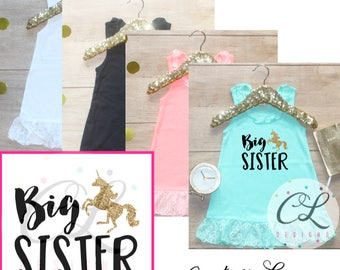 Big Sister Dress / Baby Girl Clothes Big Sister Unicorn Outfit Matching Sister Sibling Set Toddler Pregnancy Announcement Baby Shower 261