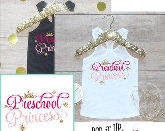 Preschool Princess Back to School Tank Shirt / 1st Day of School Girl Shirt Preschool Tee Pre-K Class Outfit T-Shirt First School Day 300
