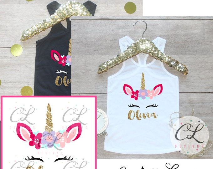 Personalized Unicorn Birthday Girl Tank Top Shirt / Baby Girl Clothes Year Old Outfit Birthday Shirt Outfit Tshirt One Two Three Four 287