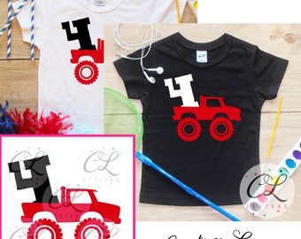 Fourth Birthday Monster Truck Birthday Boy Shirt / Baby Boy Clothes 4 Year Old Outfit Four Birthday TShirt 4th Birthday Party Toddler 293