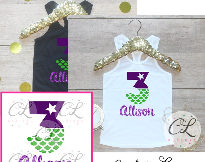 Personalized 3 Year Old Birthday Girl Shirt / Baby Girl Clothes Third Birthday Shirt 3rd Birthday Girl Outfit Tank Party Shirt Mermaid 288