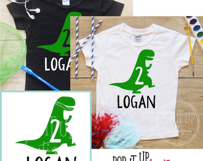 Personalized Two Dinosaur Birthday Boy Shirt / Baby Boy Clothes 2 Year Old Outfit Second Birthday TShirt 2nd Birthday Boy Party Toddler 253