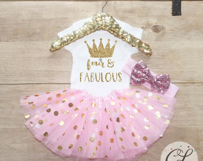 Four & Fabulous Birthday  Outfit Set / Crown T-Shirt 205