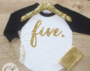 5th Birthday Girl Shirt / Baby Girl Clothes Five Fabulous 5 Year Old Outfit Fifth Birthday Shirt 5th Birthday Girl Outfit Five Raglan 001