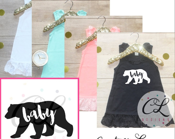 Big Sister Dress / Baby Girl Clothes Baby Bear Outfit Matching Little Sister Sibling Set Toddler Girl Pregnancy Announcement Baby Shower 234